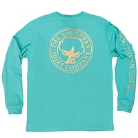 Foil Print Logo Long Sleeve Tee Shirt in Turquoise by The Southern Shirt Co.