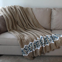 Adult Crochet Blanket - Adult Crochet Afghan - Brown and Blue Afghan - Full Size Chevron Blanket - Teen Crochet Blanket - Ready to Ship