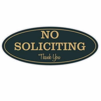 """Oval No Soliciting Sign (Black / Gold) - S Black / Gold 2"""" X 5"""" - Small"""