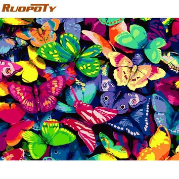 RUOPOTY Frame Butterfly DIY Painting By Numbers Kits Modern Home Wall Art Picture Acrylic Coloring By Numbers Artwork 40x50cm