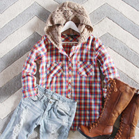 Snowy Canoe Plaid Top