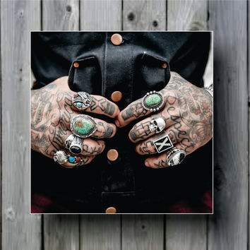 Tattooed Hands Biker Tattoo Close Up Art Background Photo Panel - Durable Finish - High Definition - High Gloss