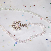 Silver Snowflake Necklace, Delicate Snowflake with Swarvoski Crystals, 925 Sterling 18 inch Chain Snowflake Necklace