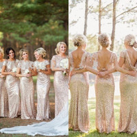 Hanyige Cowl Back Bridesmaids Dresses,Gold Sequins Formal Dresses,Champagne prom dress long Evening Special Dresses,Bridal Party Dress
