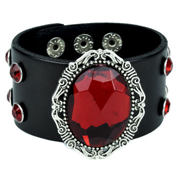 Red Stone Leather Wristband with Antique Silver Filigree Setting