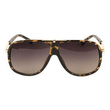 Round Solid Plate Aviators  Sunglasses