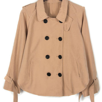 Khaki Double Breasted Zip Pockets Lapel Coat