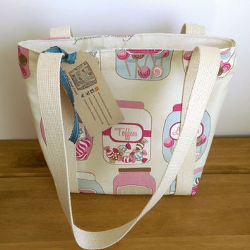 Small Tote Zipped Bag Shoulder Bag Retro Sweetie Jar Bag Fabric Bag