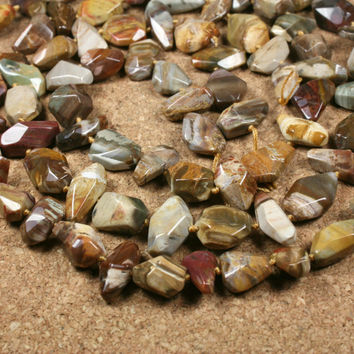 Petrified Wood Agate Nugget Beads - Smooth Faceted Black and Brown Beads, 16 inch strand