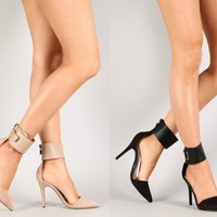 Breckelle's Ines 11 Pointy Toe Pumps Stilettos w/ Ankle Cuff NUDE or BLACK 7-11