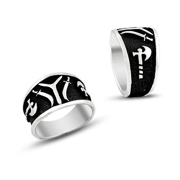 IYI monogram with sword and ax band 925K sterling silver mens ring