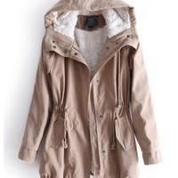 Indressme | Drawstring Trench Coat Hooded style 00-0320501 only $61.61 .