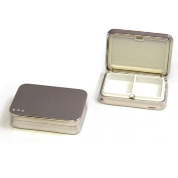 Nickel Plated Rectangular Pill Box with Divider