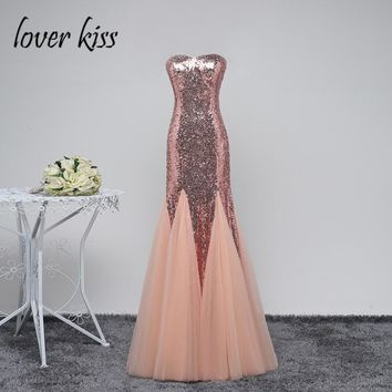 Lover Kiss Sexy Tulle Rose Gold Mermaid Prom Dresses Sequined Cheap Long Formal Plus Size Gowns For Special Party Evening Wear