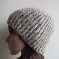Hand-knit, Super Soft, Ribbed, Chunky and Textured, Unisex Beanie Hat in Cream