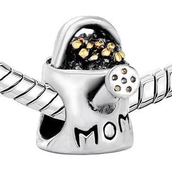 Pugster Silver # 1 Mom Watering Can Charm Bead. Fits European Charm Bracelets (Pandora