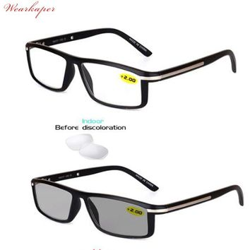 WEARKAPER Transition Sunglasses Photochromic Reading Glasses Men Hyperopia Presbyopia with diopters Outdoor Presbyopia Glasses