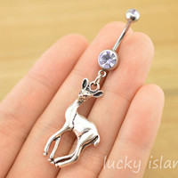 belly ring,belly button rings,deer bellybutton jewelry,navel ring,body piercing,cutedeer,friendship bellyring