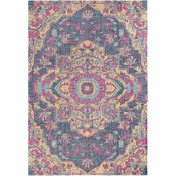 Tessera IIII Rug ~ Dark Blue/Bright Pink/Bright Yellow