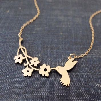 Fashion Lovely Bird Bites The Branch Necklace ,A Symbol Of Peace Necklace ,Bird And Flower Charm Necklace Jewelry