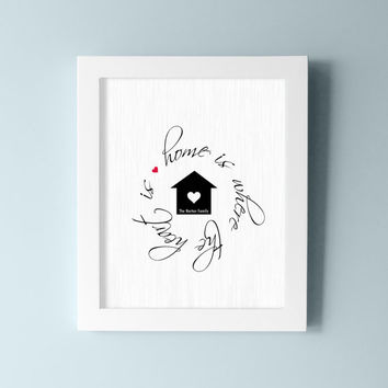 Home is where the Heart Is - Family Wall Art - Home Wall Decor - Family Decor - Brick Design with Heart and House - Choose your Colors