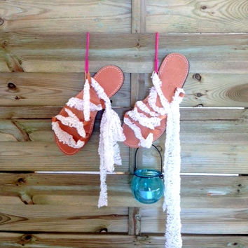 Gladiator Sandals - White Lace