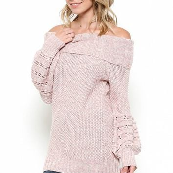 Off The Shoulder Knitted Sweater Top