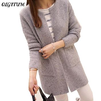 OLGOTUM 2018 New Spring&Autumn Women Casual Long Sleeve Knitted Cardigans Autumn Crochet Ladies Sweaters Fashion Women Cardigan