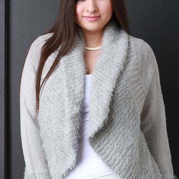 Shearling Trim Open Front Sweater