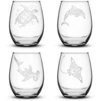 Set of 4, Wine Glasses with Turtle, Dolphin, Shark, and Stingray
