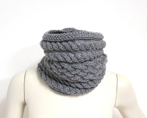 Light Gray Cowl, Wool Snood Scarf,Knit from Aiko Threads