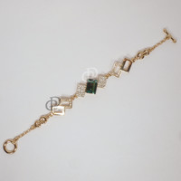 Swarovski Erinite Green Crystal Gold Plated Bracelet by Rosny