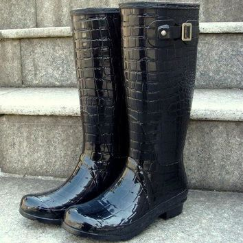 Waterproof Crocodile Pattern Rain Boots