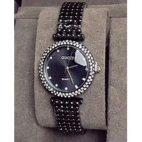 "Hot Sale ""GUCCI"" High Quality Popular Women Chic Diamond Movement Quartz Watch Wristwatch Black"