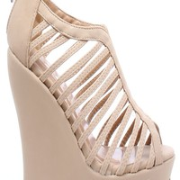 TAUPE NUBUCK FAUX LEATHER STRAPPY PLATFORM WEDGE BOOTIE