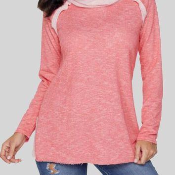 New Pink Patchwork Embellished Cowl Neck Ruched Long Sleeve Cotton Sweatshirt