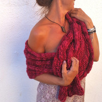 Chunky knit wrap, red wedding shawl, oversized scarf, red wool wrap, redchunky scarf, texturized wool, winter trends, knitwear 2014