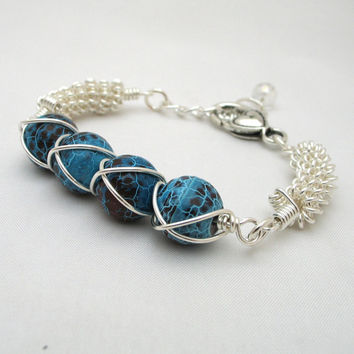 Turquoise Bracelet Wire Wrapped Fire Agate Summer Jewelry Coiled Wire Jewelry