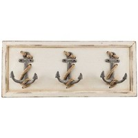 Antique White Wall Plaque with 3-Anchor Hooks | Shop Hobby Lobby