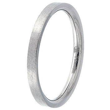 Titanium Plain Wedding Band Thumb Ring / Toe Ring 2mm Flat thin Comfort-Fit Brushed finish, size 6