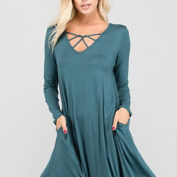 Into The Night Teal Dress
