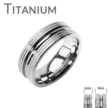 High Caliber - FINAL SALE Double Textured Solid Titanium Couples Ring