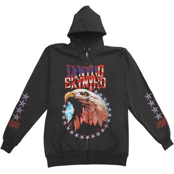 Lynyrd Skynyrd Men's  Zippered Hooded Sweatshirt Black Rockabilia
