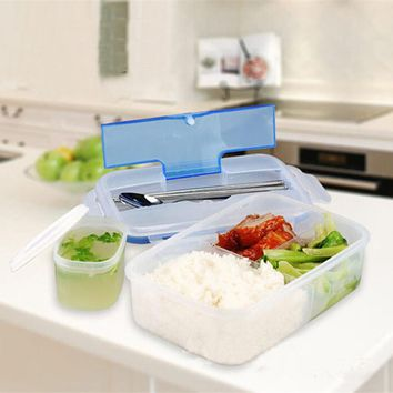 Portable Bowls For Lunch Microwave Lunch box with Soup Bowl Chopsticks and Spoon Blue Students Ofice Workers Outdoor Tools
