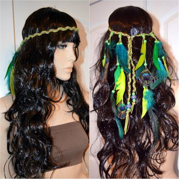 Green Peacock Indian Headdress Feather Native Crown Feather Headband Halloween Costume