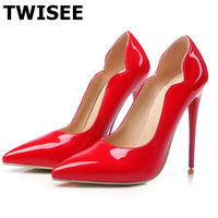ten colors Plus Size 34-44 2017 New Fashion high heels 12cm women pumps thin heel classic sexy wedding shoes TWISEE