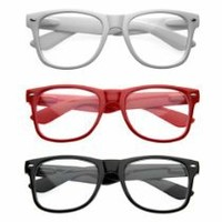 Nerd Raver Poser Clubbing Clear Lens UV400 Dork Horn Rimmed Glasses (3-Pack Mix (1 of each))