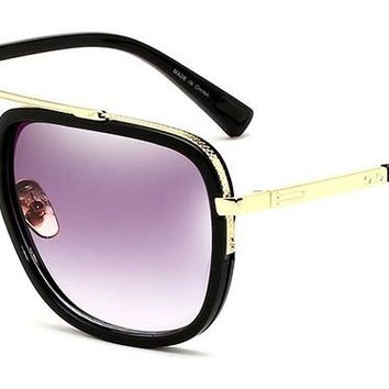 Classic Square Aviator Sunglasses Oversized Double Bar Metal Frame SJ1080