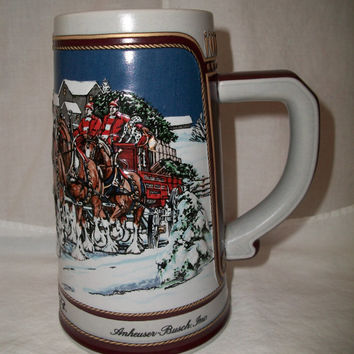 Vintage 1989 Anheuser Busch Budweiser Holiday Stein/mug Clydesdale Series Shabby Retro