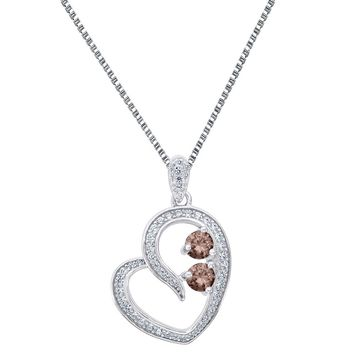 2 Solitaire Brown CZ Heart Pendant Forever Us Charm Ladies 925 Silver Necklace